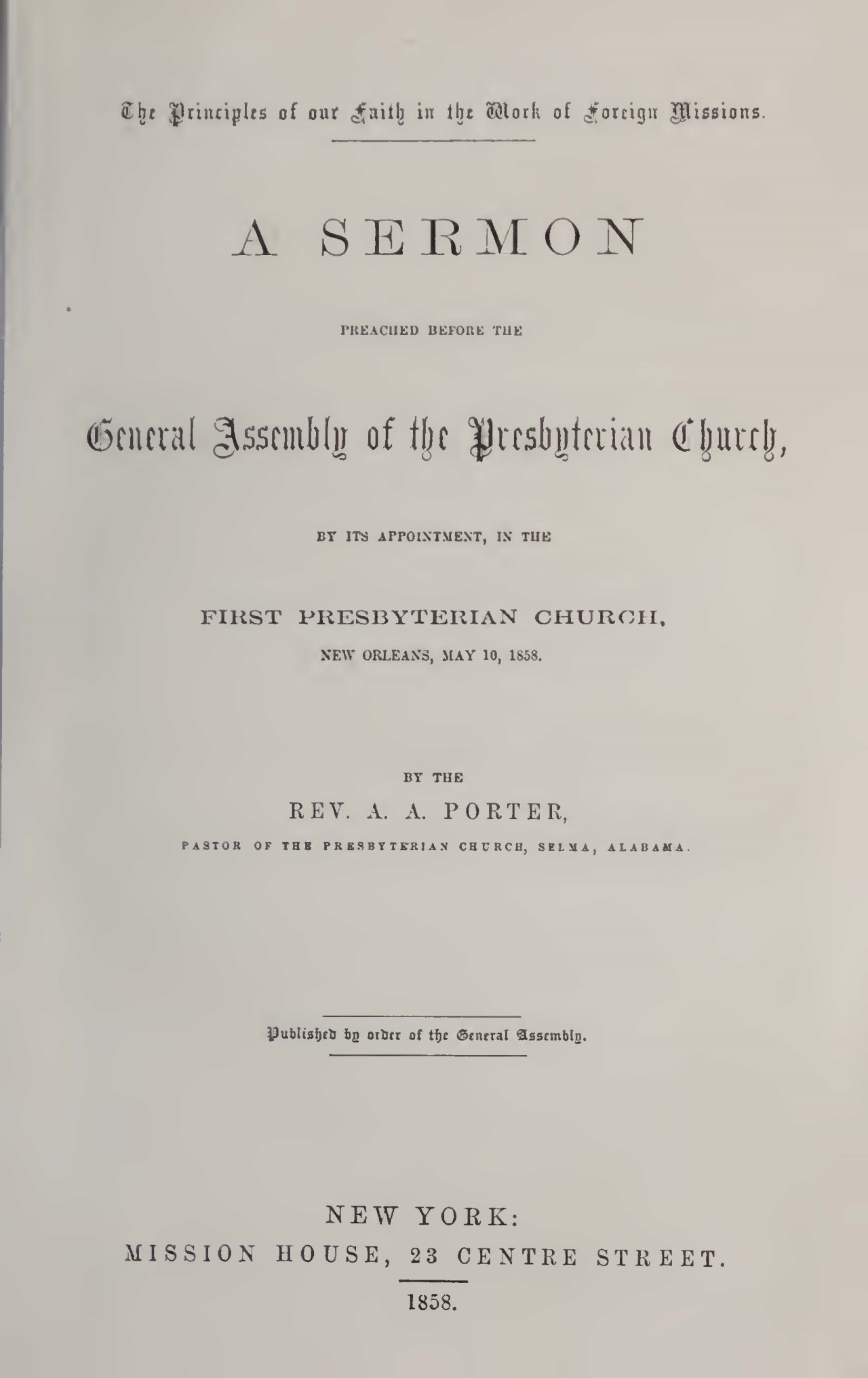 Porter, Abner Addison, Principles of Our Faith in the Work of Foreign Missions Title Page.jpg