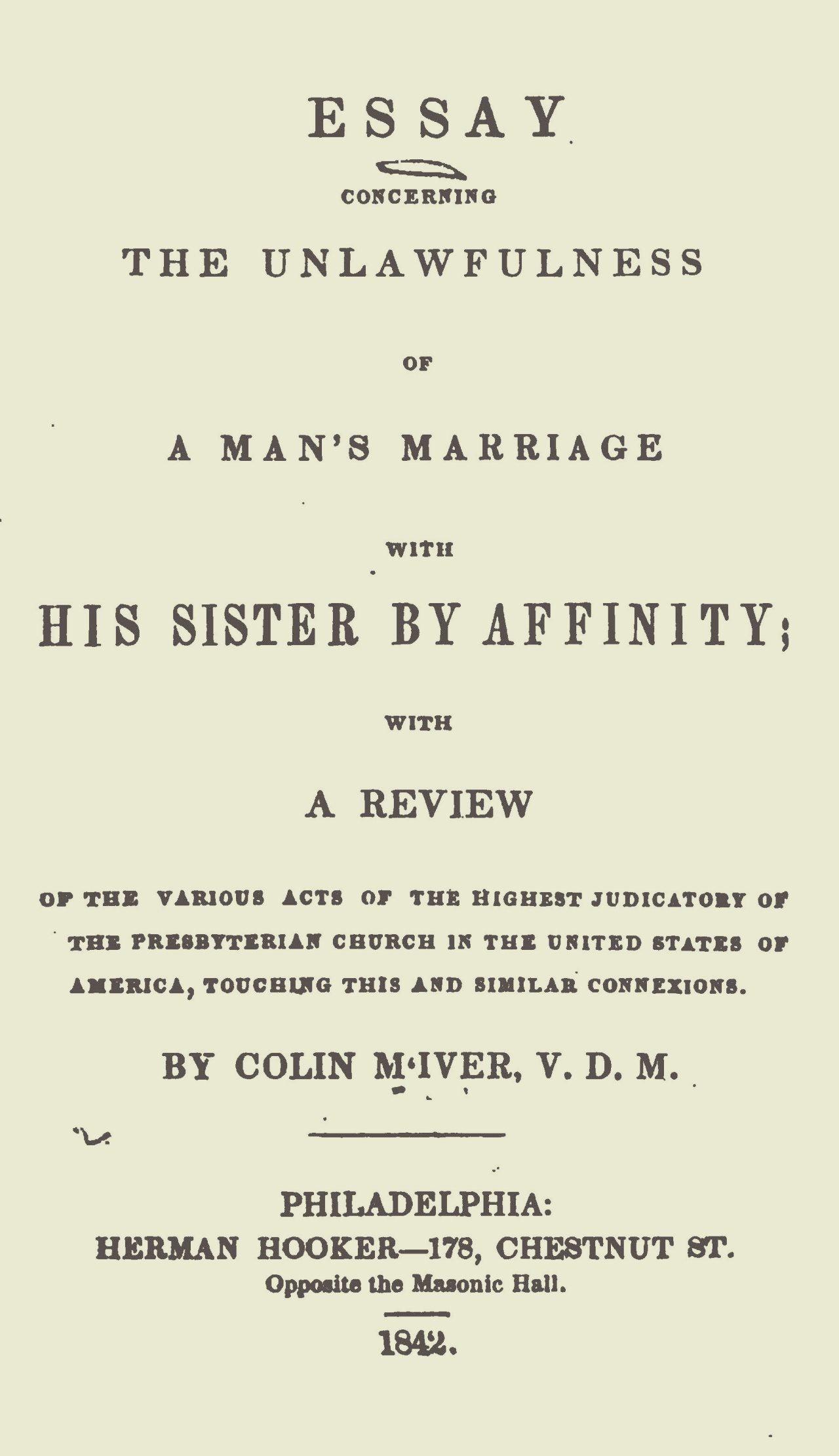 McIver, Colin, An Essay Concerning the Unlawfulness of a Man's Marriage With His Sister by Affinity Title Page.jpg