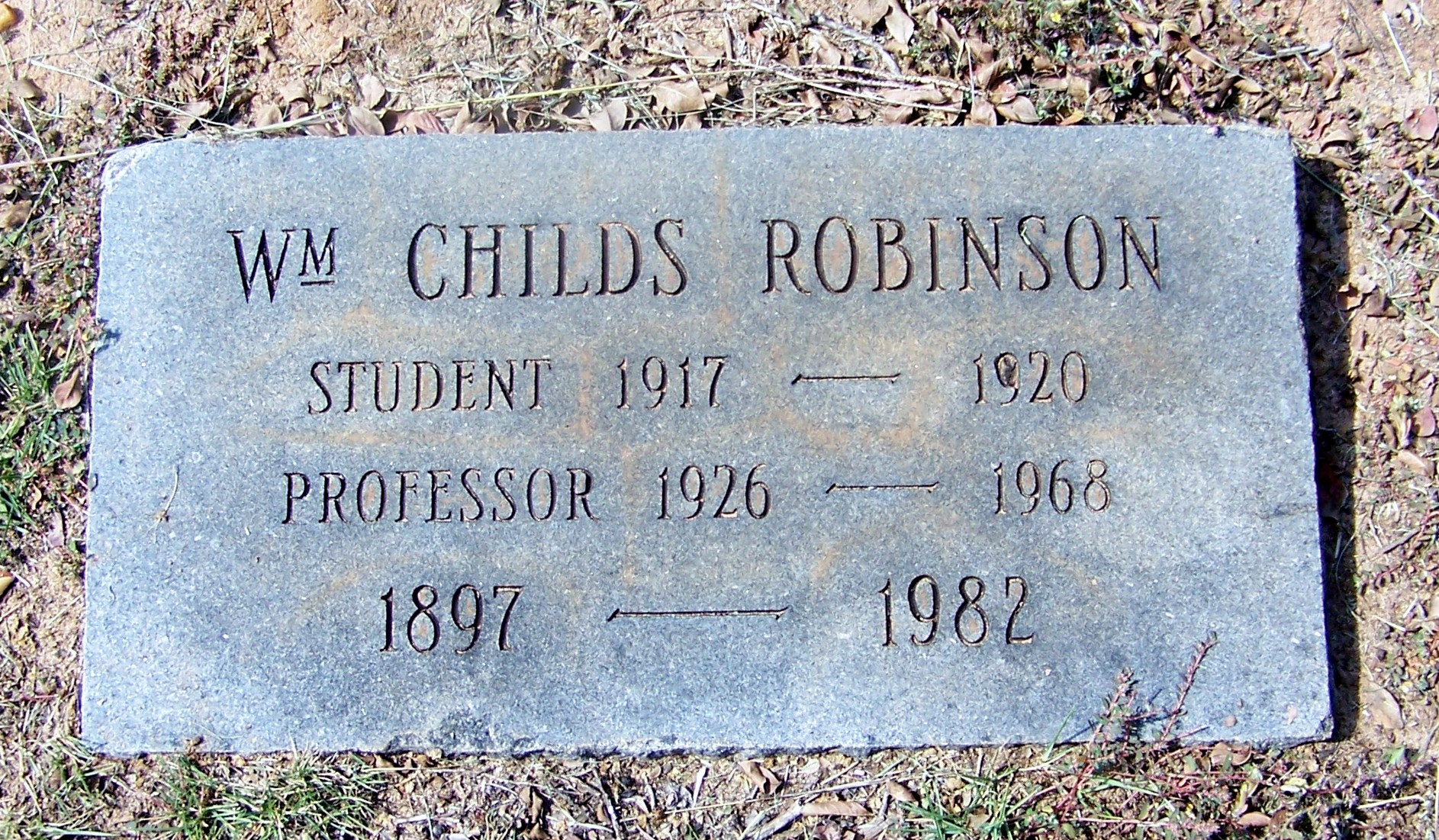 William Childs Robinson is buried at Elmwood Cemetery, Columbia, South Carolina.