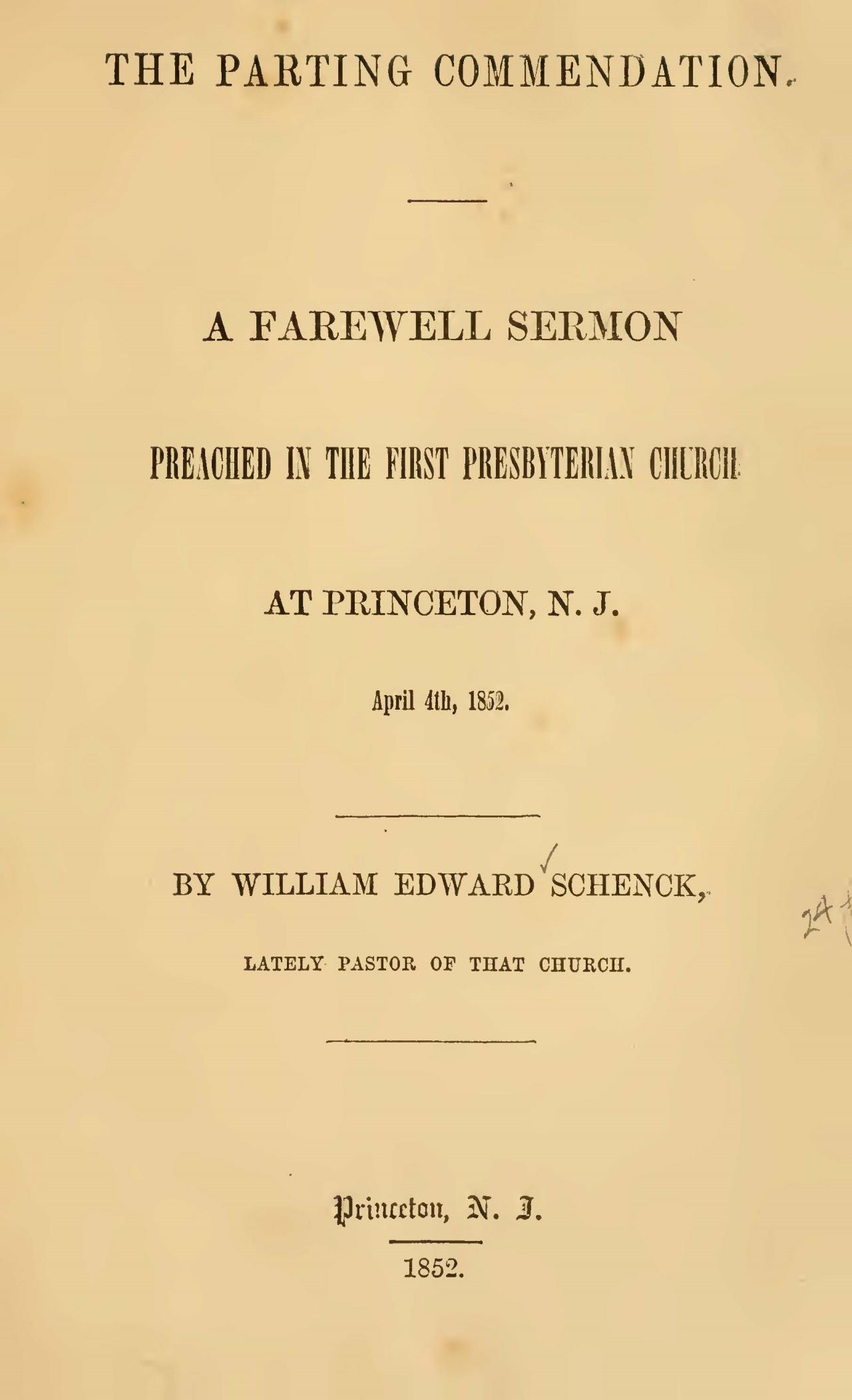 Schenck, William Edward, The Parting Commendation Title Page.jpg