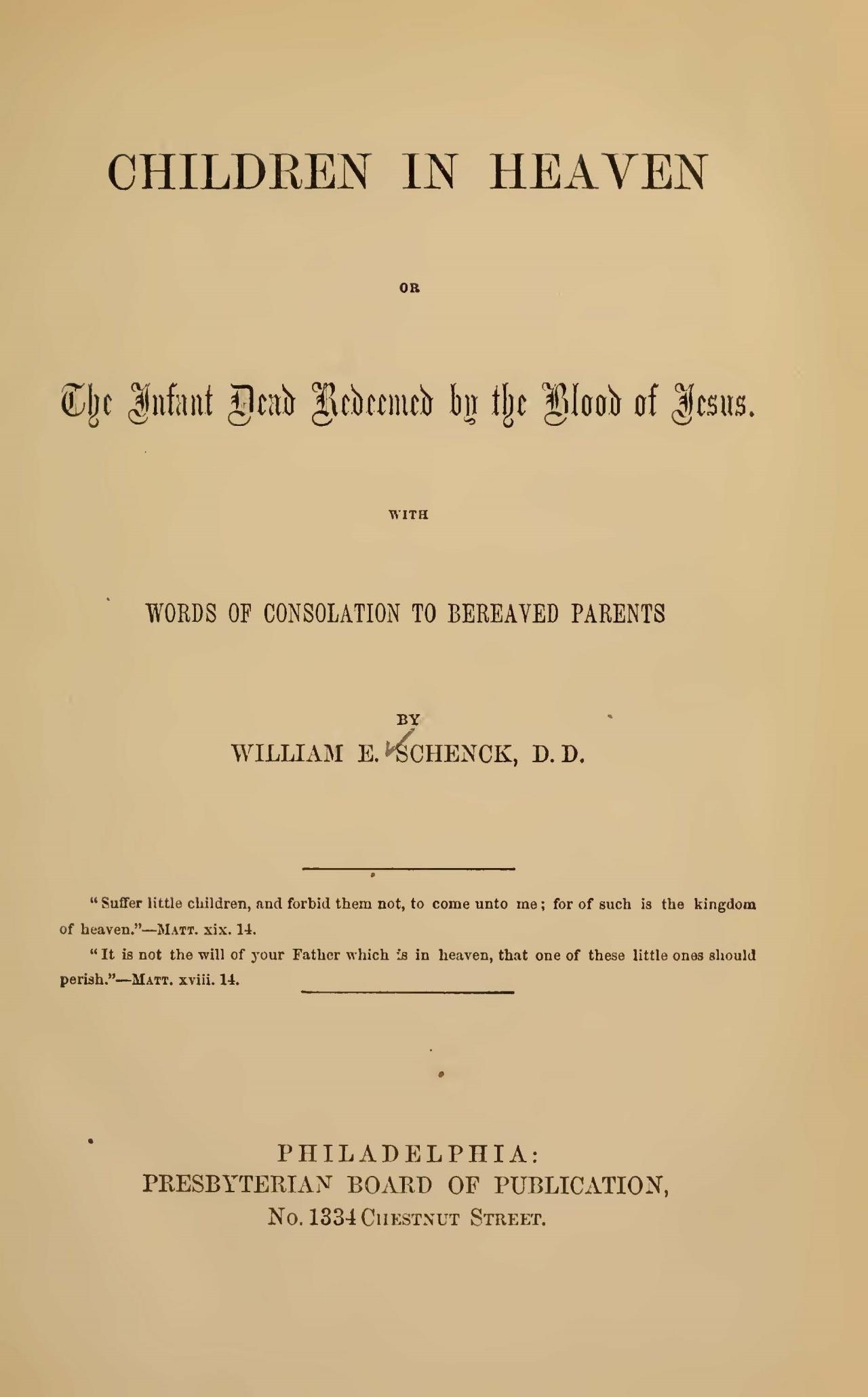 Schenck, William Edward, Children in Heaven Title Page.jpg
