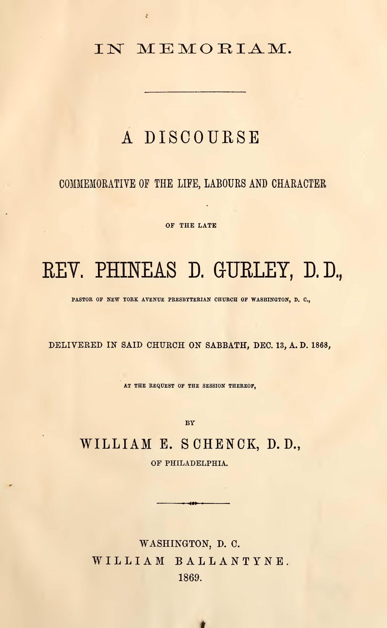 Schenck, William Edward, In Memoriam Title Page.jpg