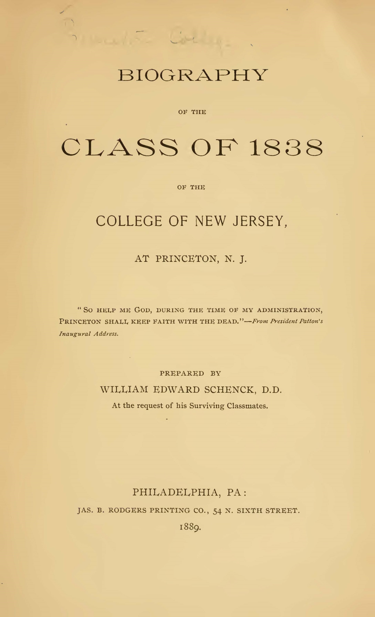 Schenck, William Edward, Biography of the Class of 1838 Title Page.jpg