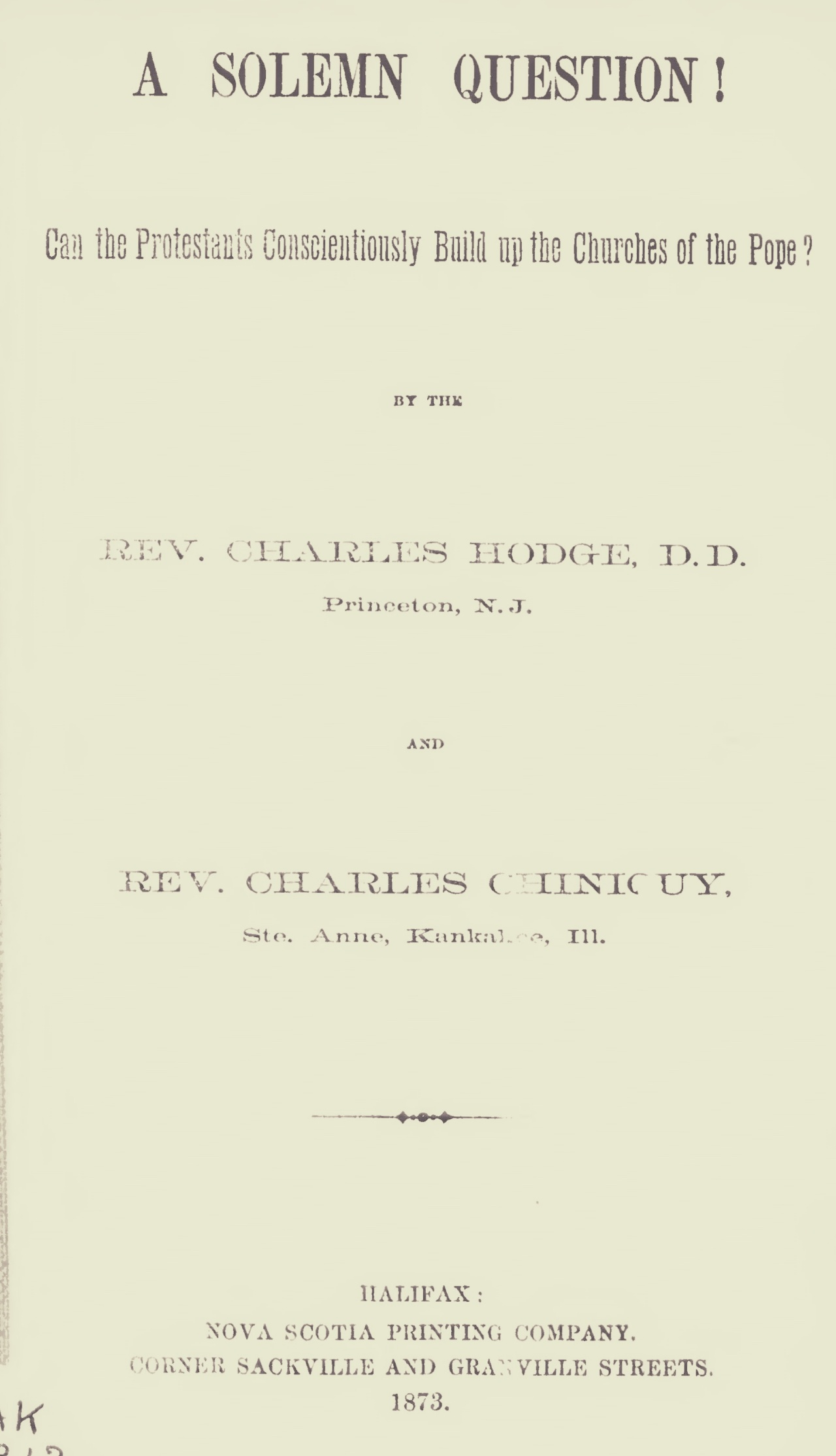 Hodge, Charles, A Solemn Question Title Page.jpg