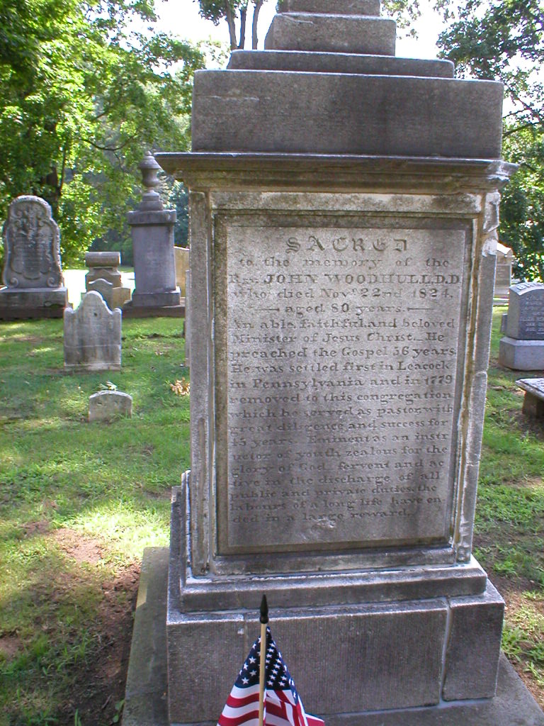John Woodhull is buried at Old Tennent Churchyard, Tennent, New Jersey.