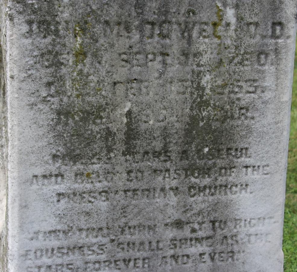 John McDowell is buried at Woodlands Cemetery, Philadelphia,Pennsylvania.