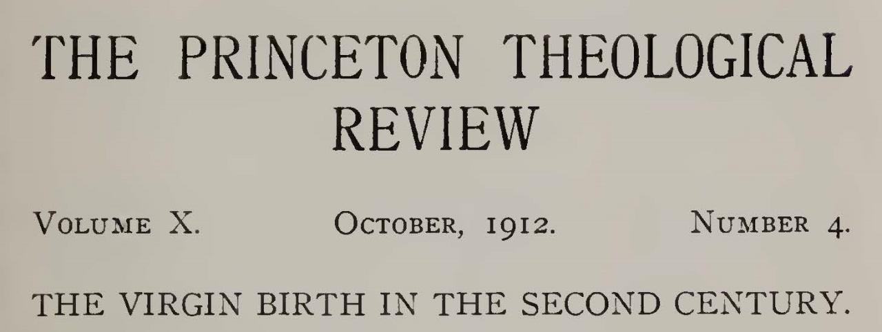 Machen, John Gresham, The Virgin Birth in the Second  Century Title Page.jpg