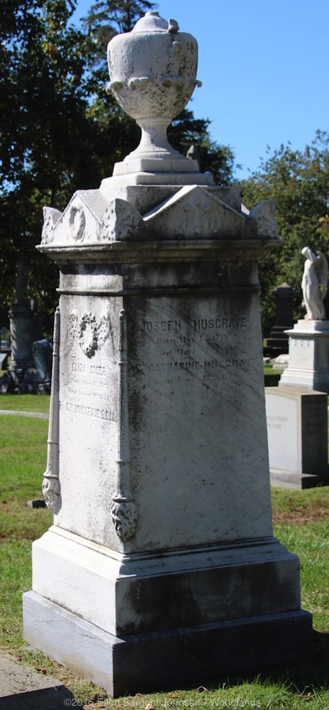 George Washington Musgrave is buried at Woodlands Cemetery, Philadelphia, Pennsylvania.