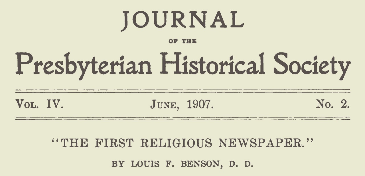 Benson, Louis FitzGerald, The First Religious Newspaper Title Page.jpg