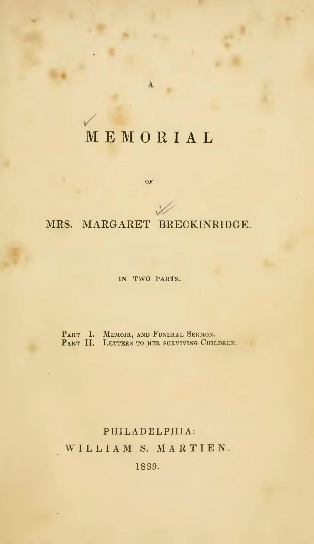 Alexander, Archibald, A Memorial of Mrs. Margaret Breckinridge Title Page.jpg