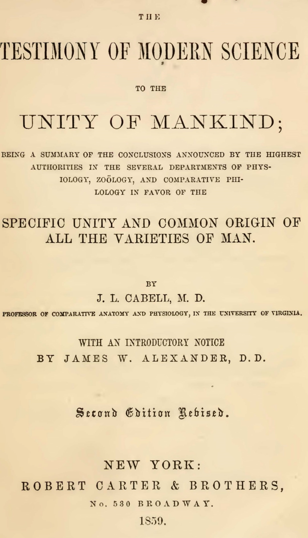 Alexander, James Waddel, Introductory Notice to Cabell's Testimony Title Page.jpg