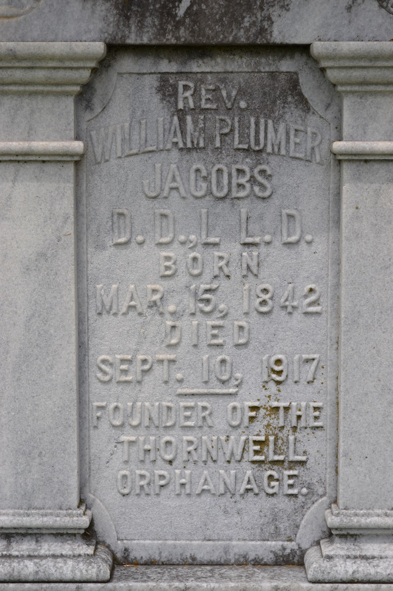 William Plumer Jacobs is buried at Clinton Cemetery, Clinton, South Carolina.
