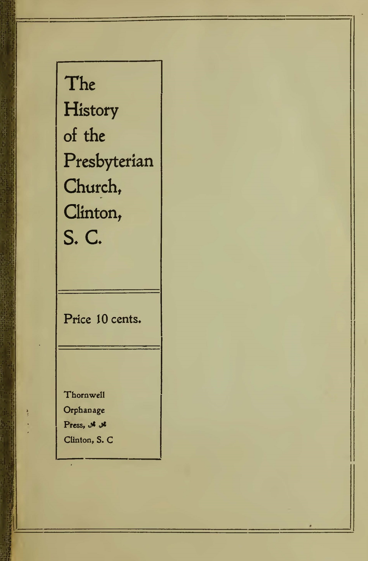 Jacobs, William Plumer, The History of the Presbyterian Church, Clinton, S.C. Title Page.jpg
