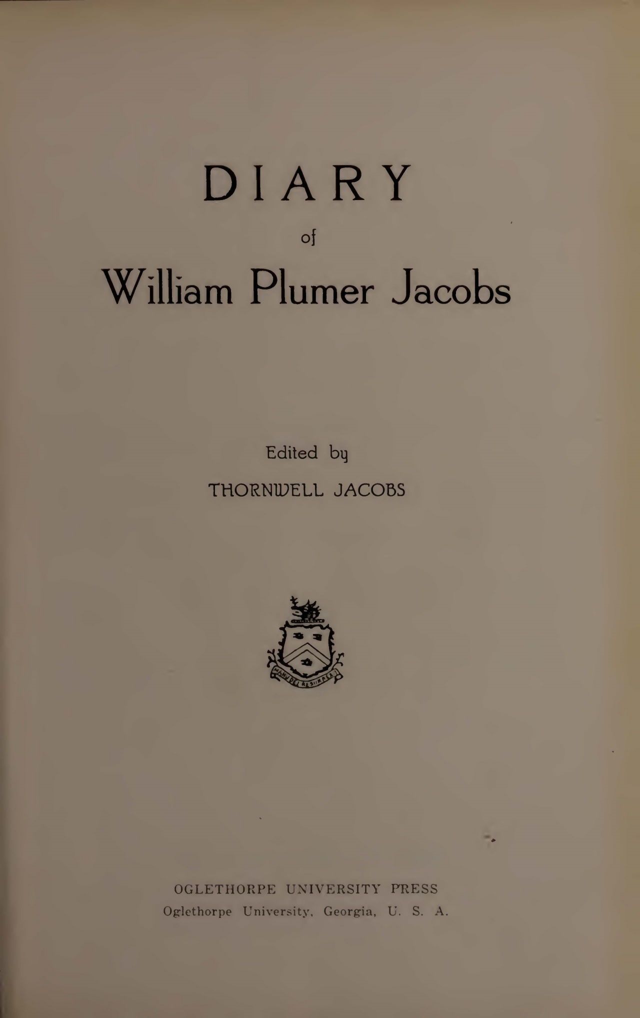 Jacobs, William Plumer, Diary of William Plumer Jacobs Title Page.jpg
