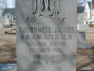 Thornwell Jacobs is buried at Clinton Cemetery, Clinton, South Carolina.