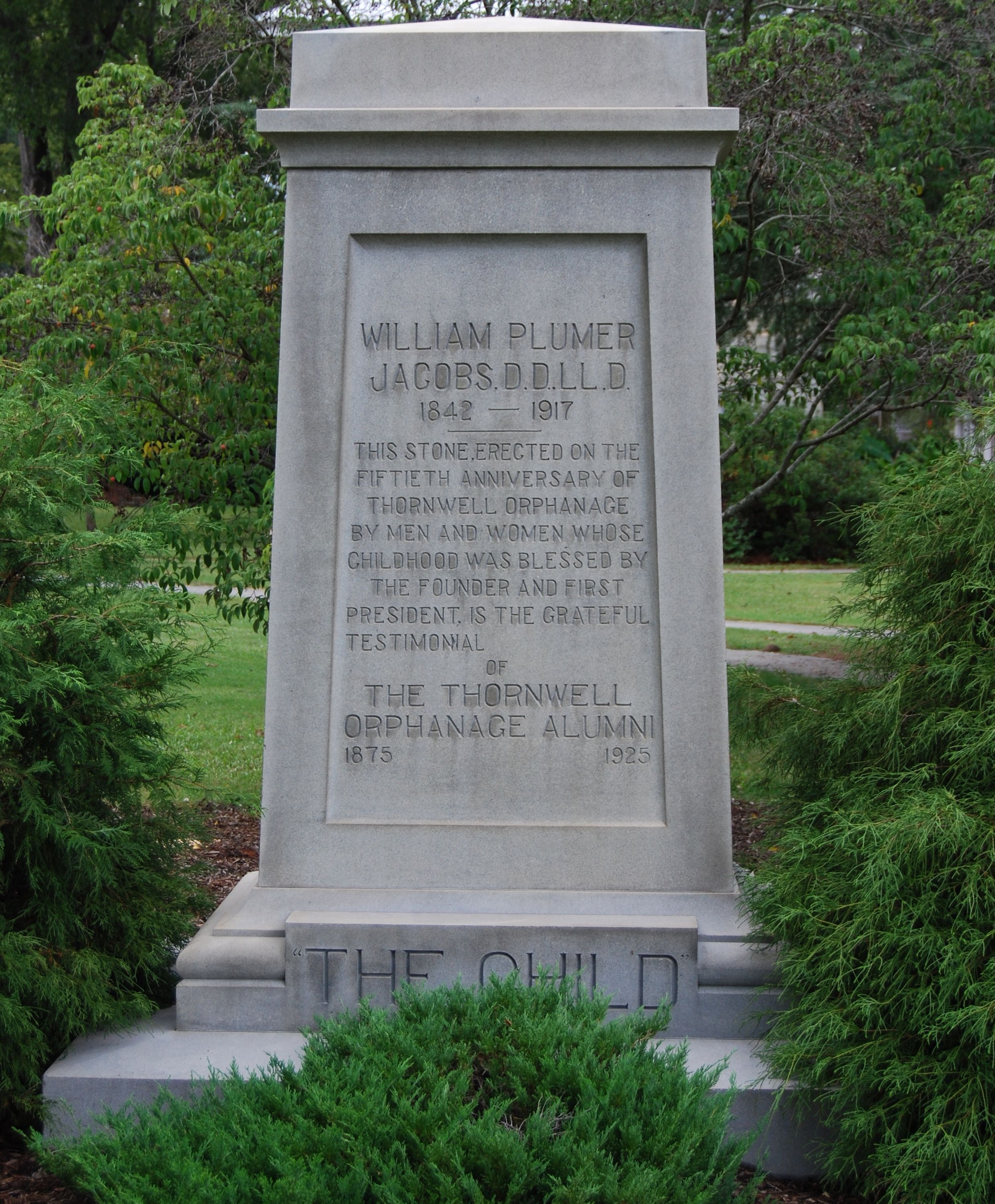 Monument to William Plumer Jacobs at Thornwell Orphanage.