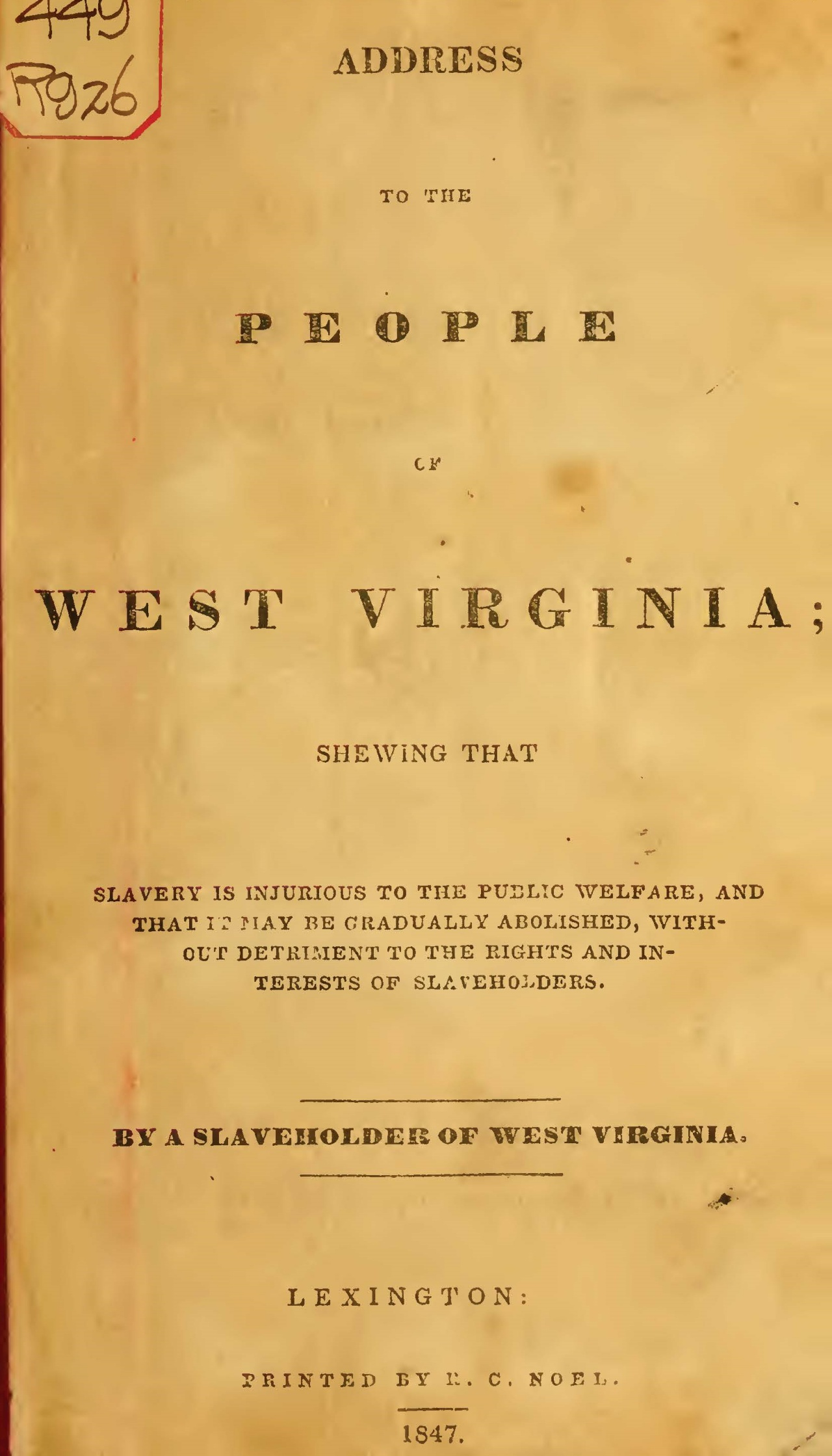 Ruffner, Henry, Address to the People of West Virginia Title Page.jpg