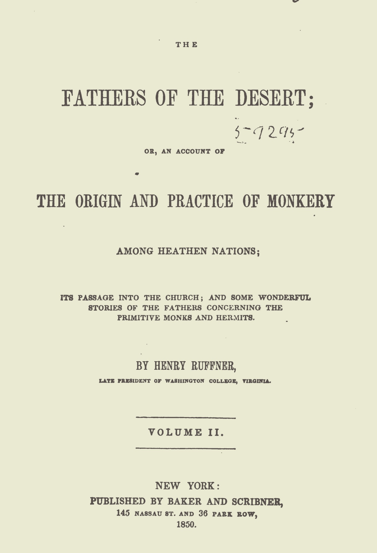 Ruffner, Henry, The Fathers of the Desert, Vol. 2 Title Page.jpg