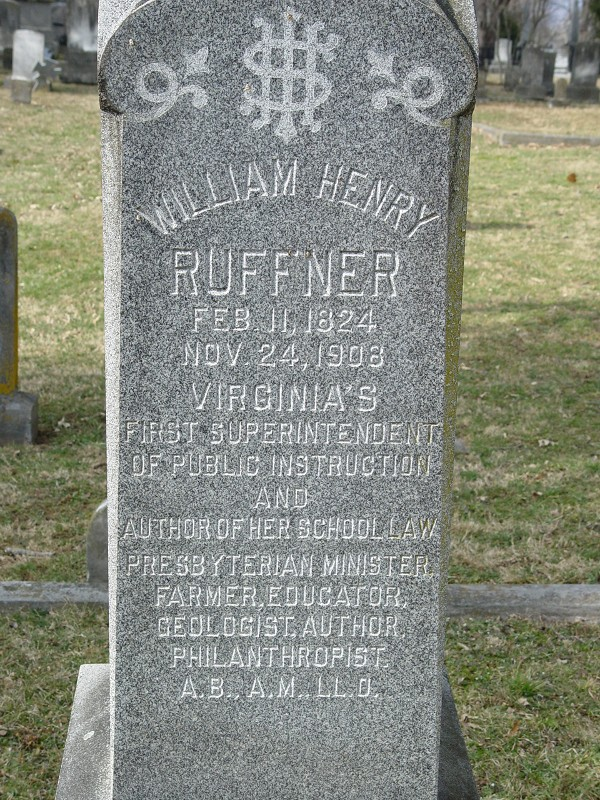 William Henry Ruffner is buried at the Stonewall Jackson Cemetery, Lexington, Virginia.