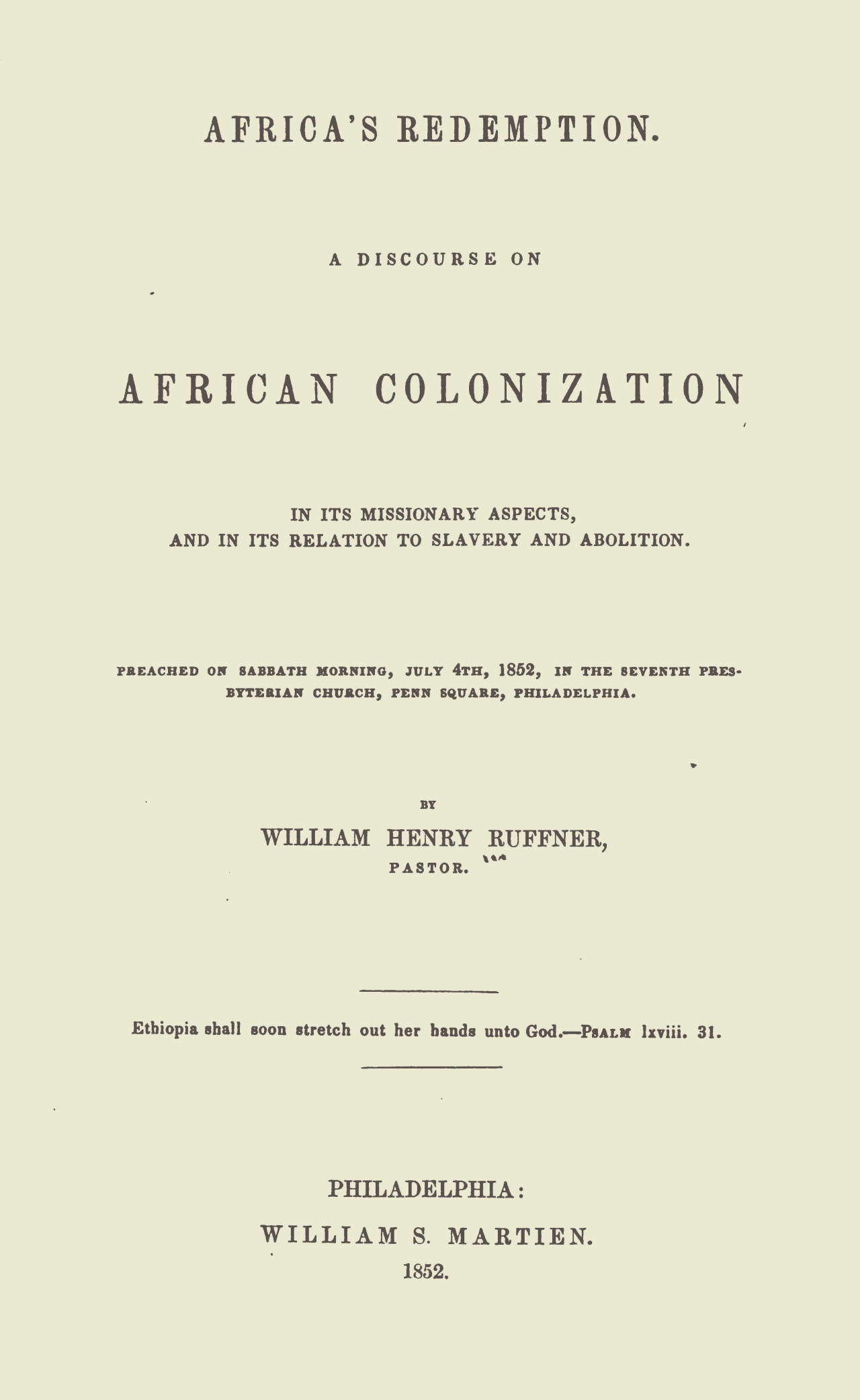 Ruffner, William Henry, Africa's Redemption Title Page.jpg