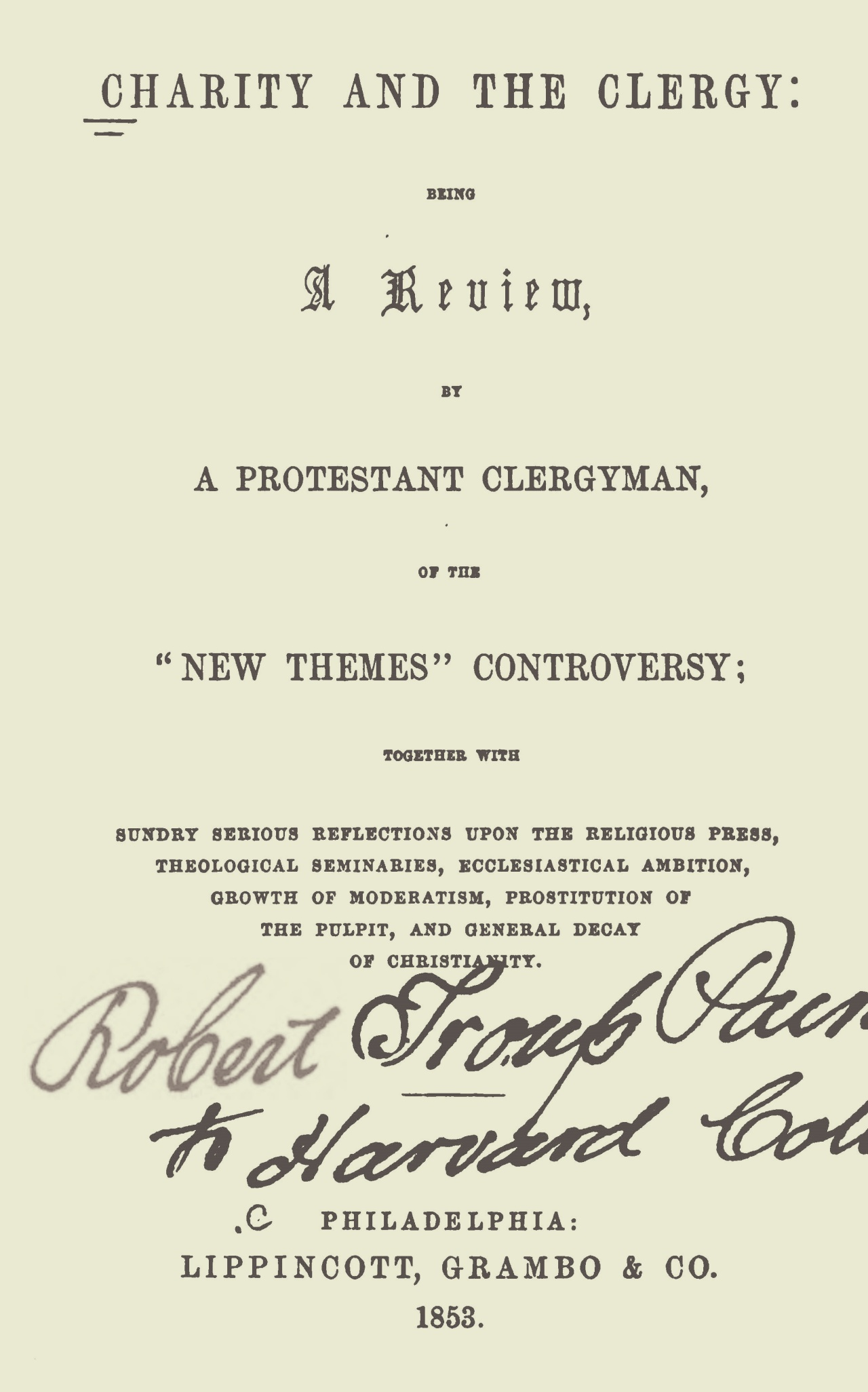 Ruffner, William Henry, Charity and the Clergy Title Page.jpg