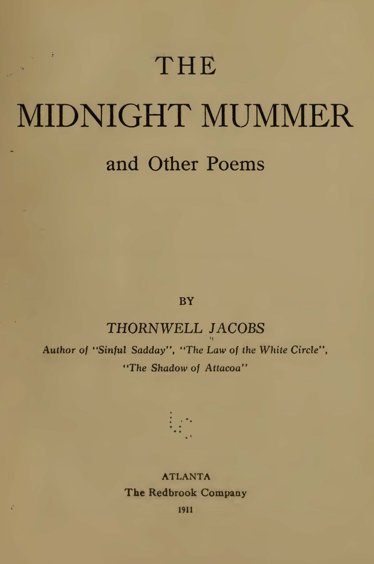 Jacobs, Thornwell, The Midnight Mummer Title Page.jpg