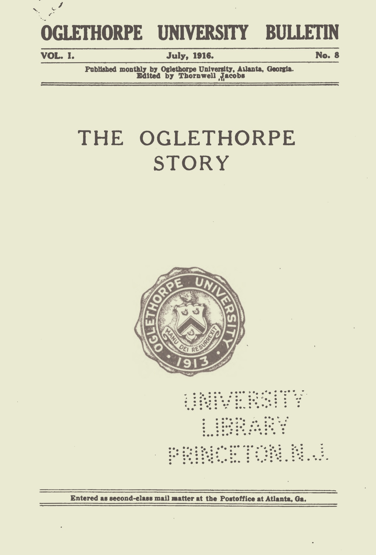 Jacobs, Thornwell, The Oglethorpe Story Title Page.jpg