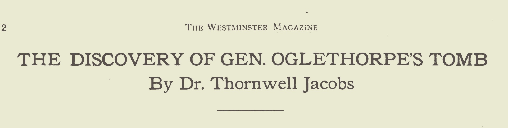 Jacobs, Thornwell, The Discovery of Gen. Oglethorpe's Tomb Title Page.jpg
