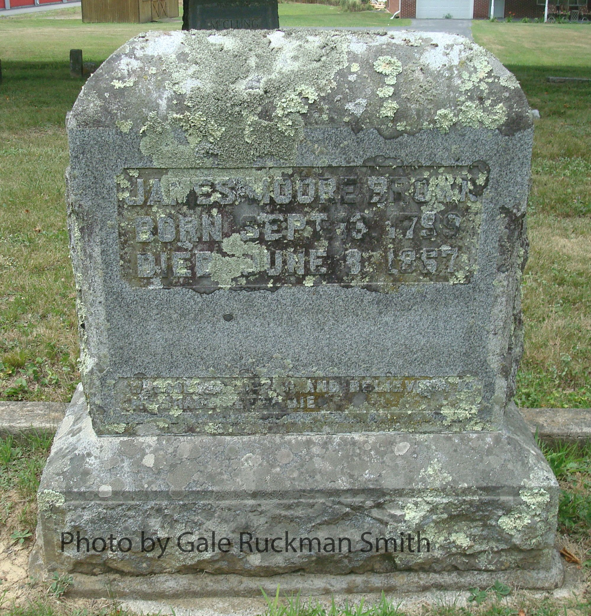 James Moore Brown is buried at Frankford Cemetery, Frankford, West Virginia.