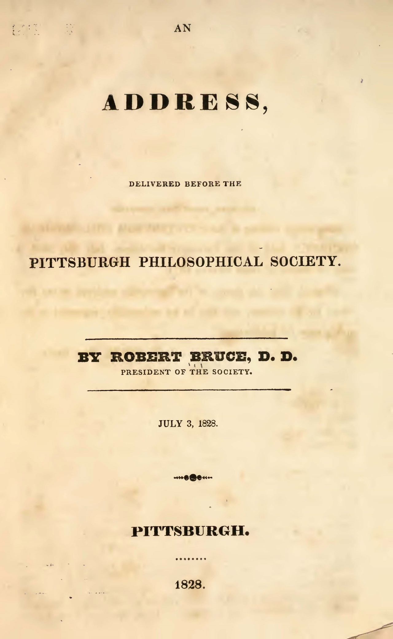 Bruce, Robert, An Address Delivered Before the Pittsburgh Philosophical Society Title Page.jpg