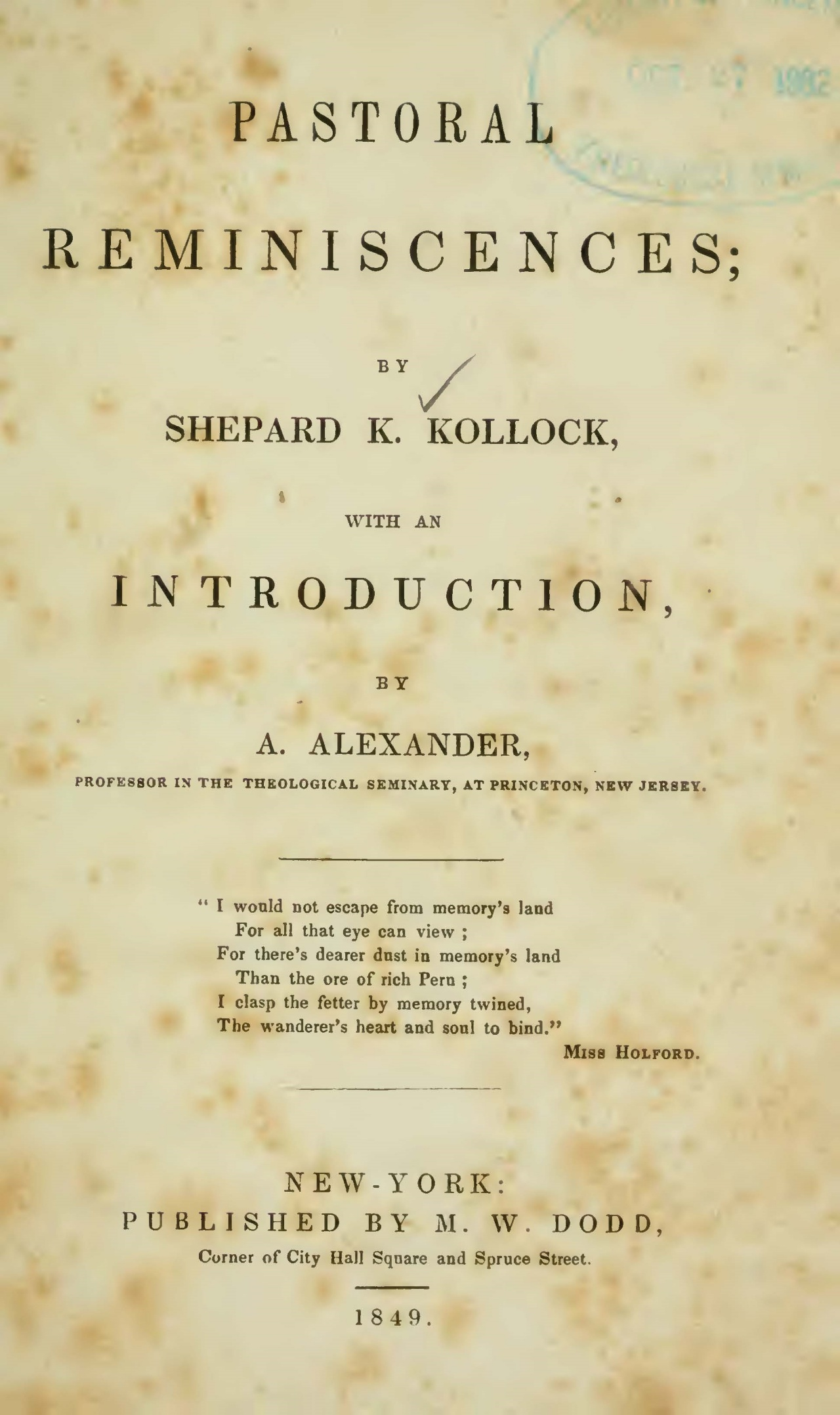Alexander, Archibald, Introduction to Shepard Kollock's Pastoral Reminiscences Title Page.jpg