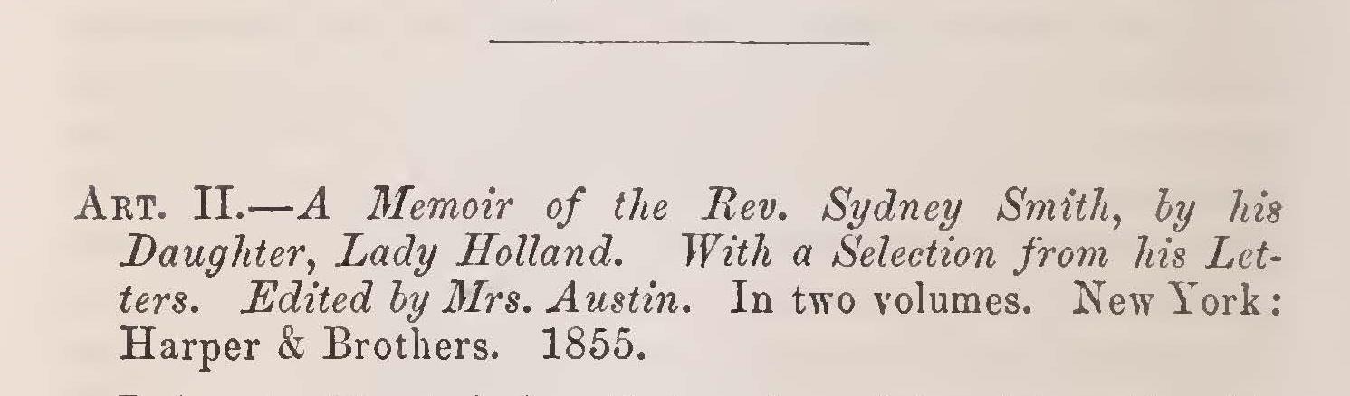 Kollock, Shepard Kosciuszko, Review of A Memoir of the Rev. Sydney Smith Title Page.jpg