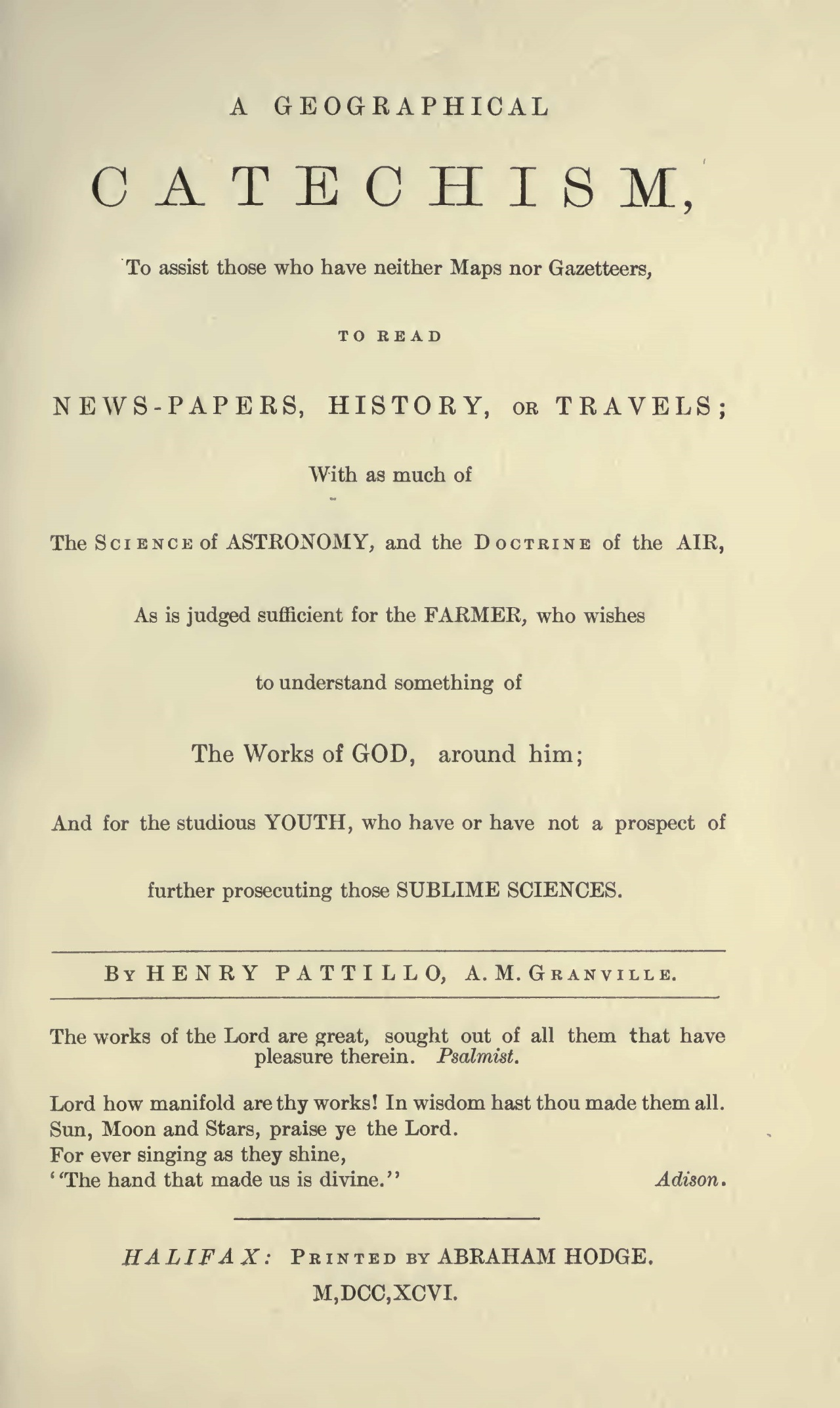 Pattillo, Henry, A Geographical Catechism Title Page.jpg