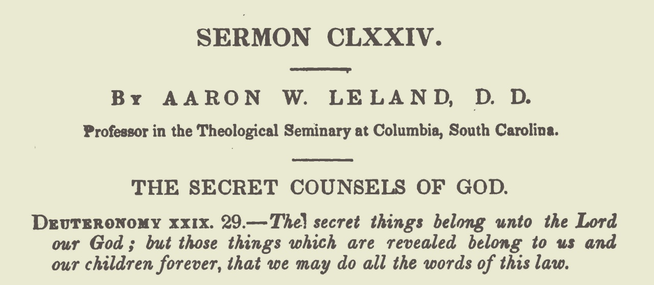 Leland, Aaron Whitney, The Secret Counsels of God Title Page.jpg