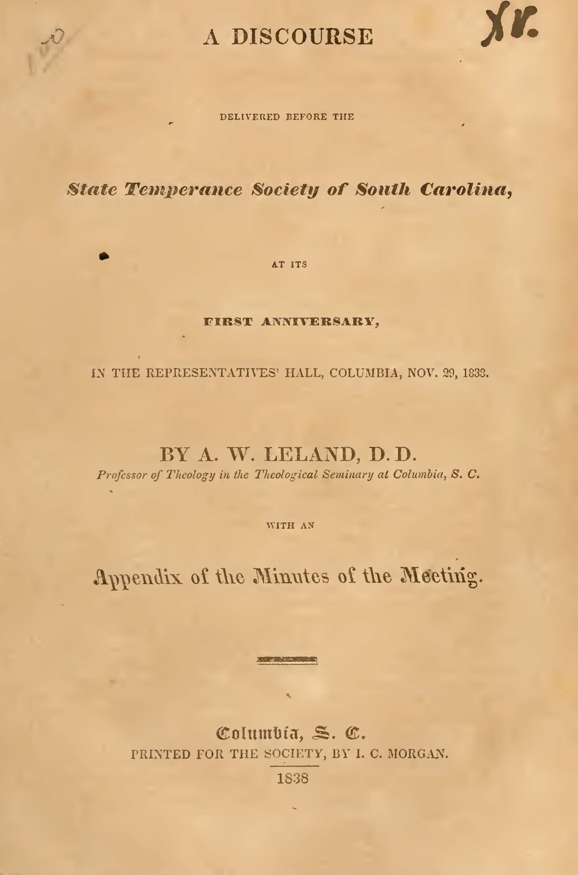 Leland, Aaron Whitney, A Discourse Delivered Before the State Temperance Society of SC Title Page.jpg