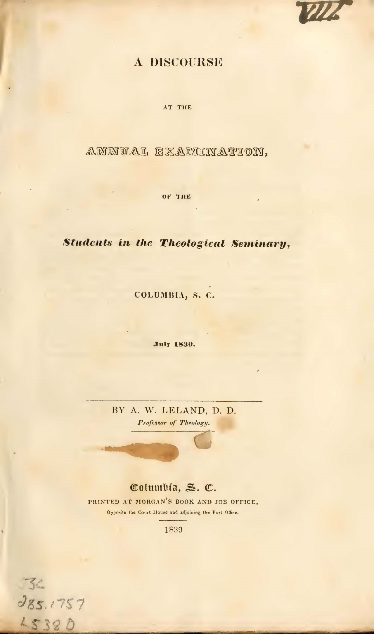 Leland, Aaron Whitney, A Discourse at the Annual Examination Title Page.jpg
