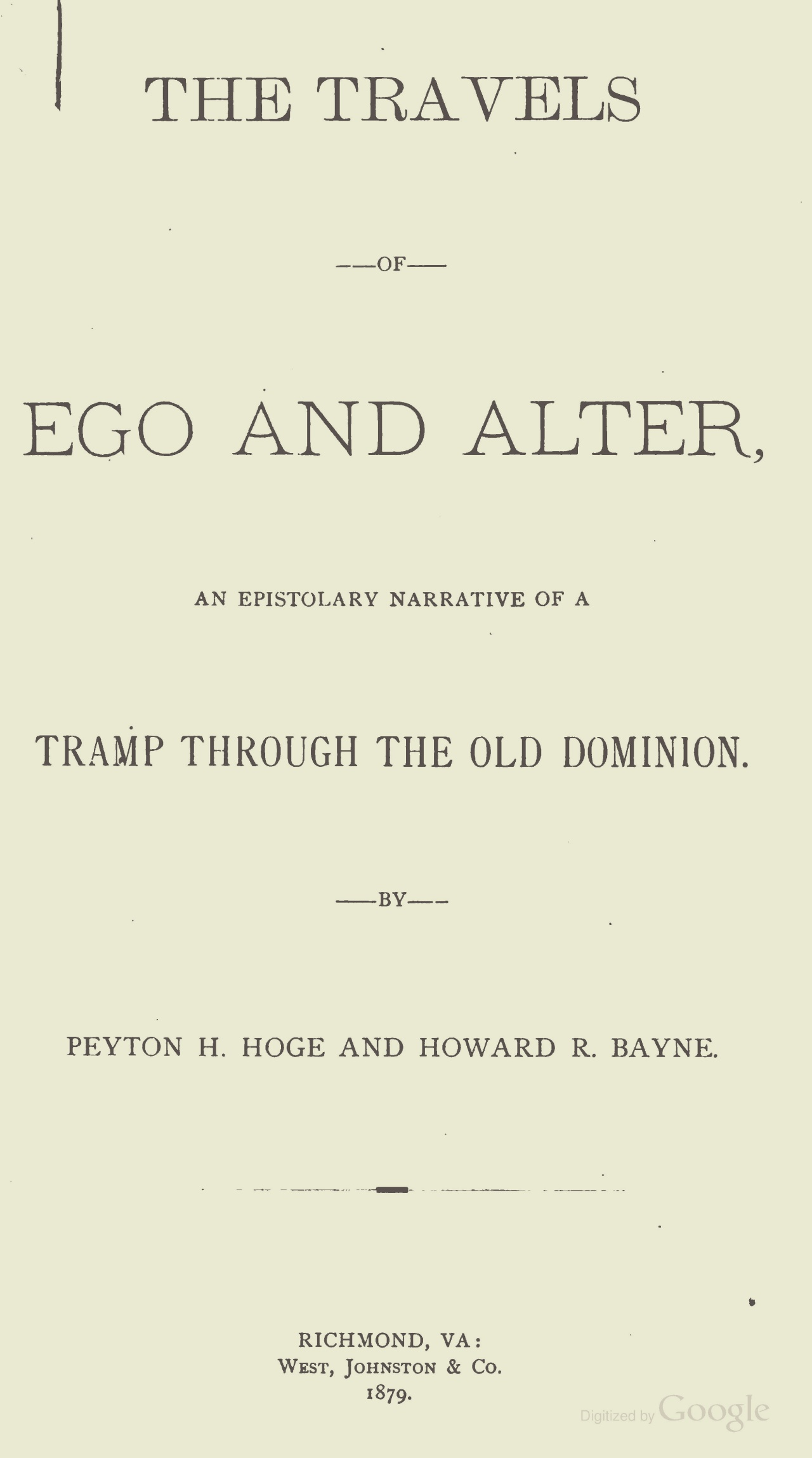 Hoge, Peyton Harrison, The Travels of Ego and Alter Title Page.jpg