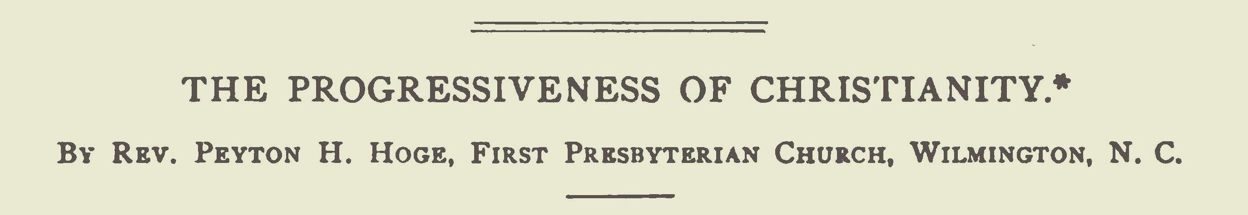 Hoge, Peyton Harrison, The Progressiveness of Christianity Title Page.jpg