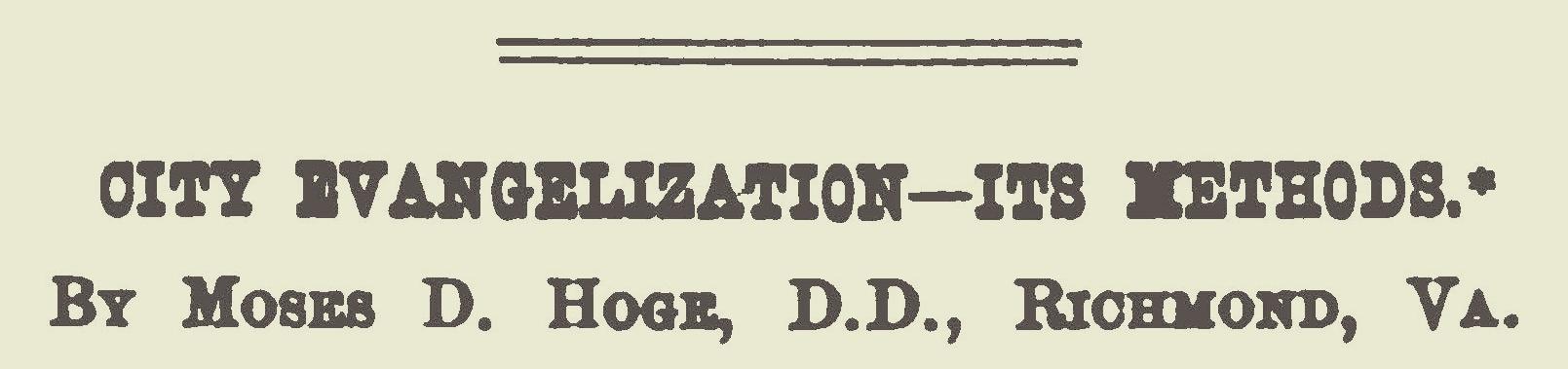 Hoge, Moses Drury, City Evangelism Its Methods Title Page.jpg