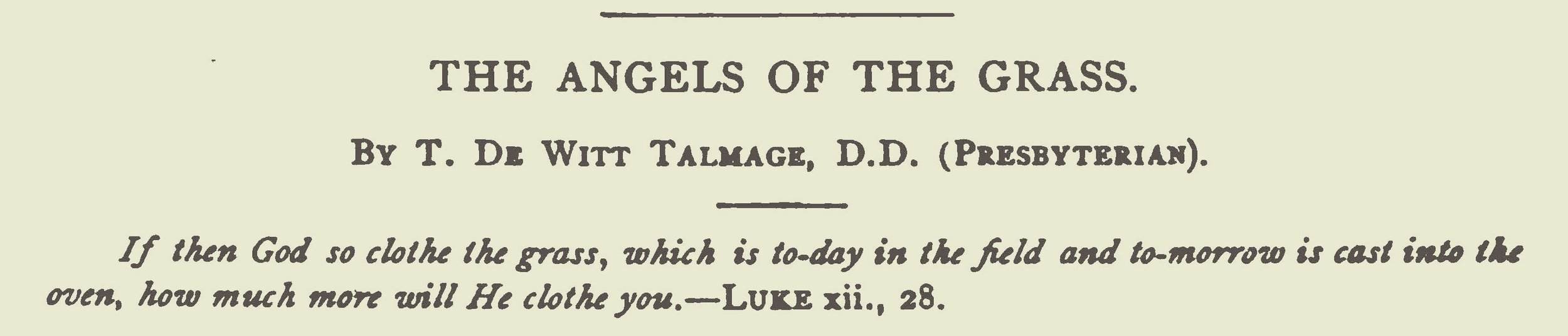 Talmage, Thomas De Witt, The Angels of the Grass Title Page.jpg