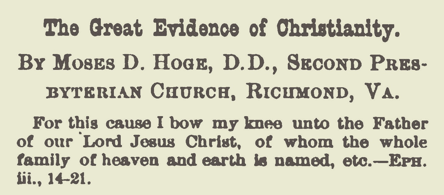 Hoge, Moses Drury, The Great Evidence of Christianity Title Page.jpg
