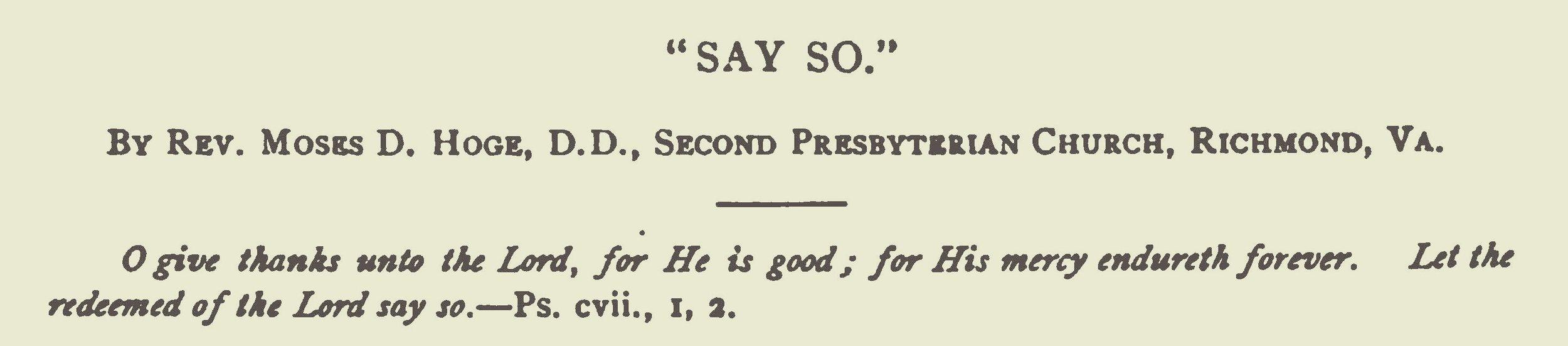 Hoge, Moses Drury, Say So Title Page.jpg