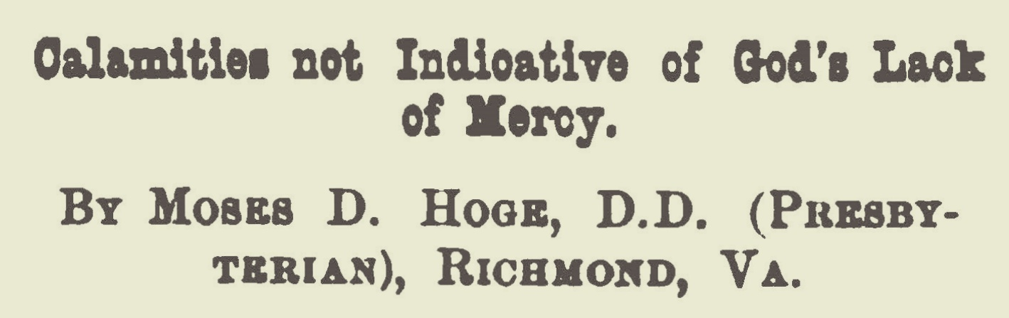 Hoge, Moses Drury, Calamities Not Indicative of God's Lack of Mercy Title Page.jpg