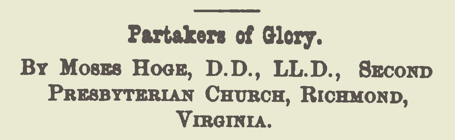 Hoge, Moses Drury, Partakers of Glory Title Page.jpg