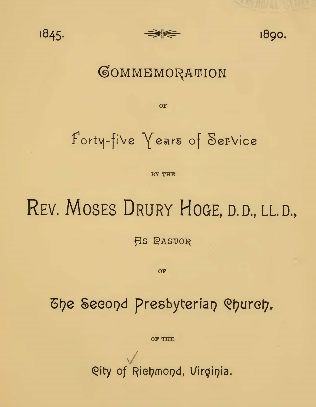Hoge, Moses Drury, Commemoration of Forty-Five Years Title Page.jpg