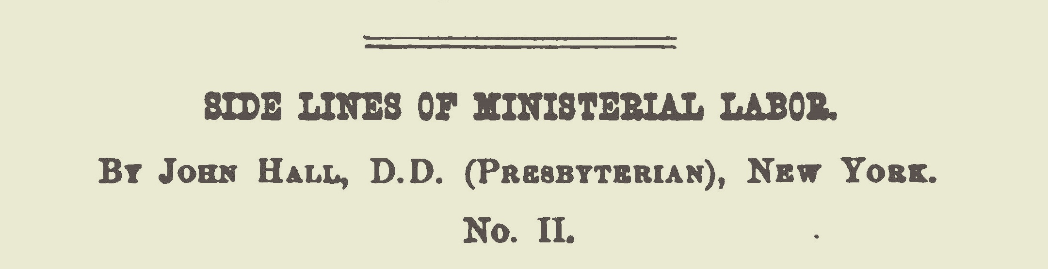 Hall, John, Side LInes of Ministerial Labor No. 2 Title Page.jpg
