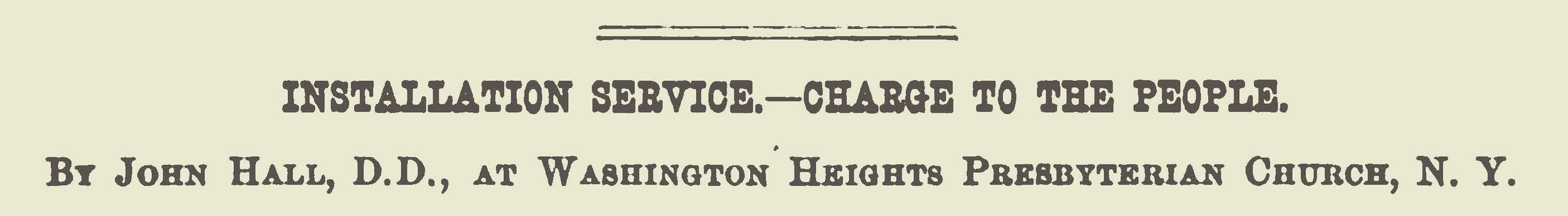 Hall, John, Installation Service Charge to the People Title Page.jpg