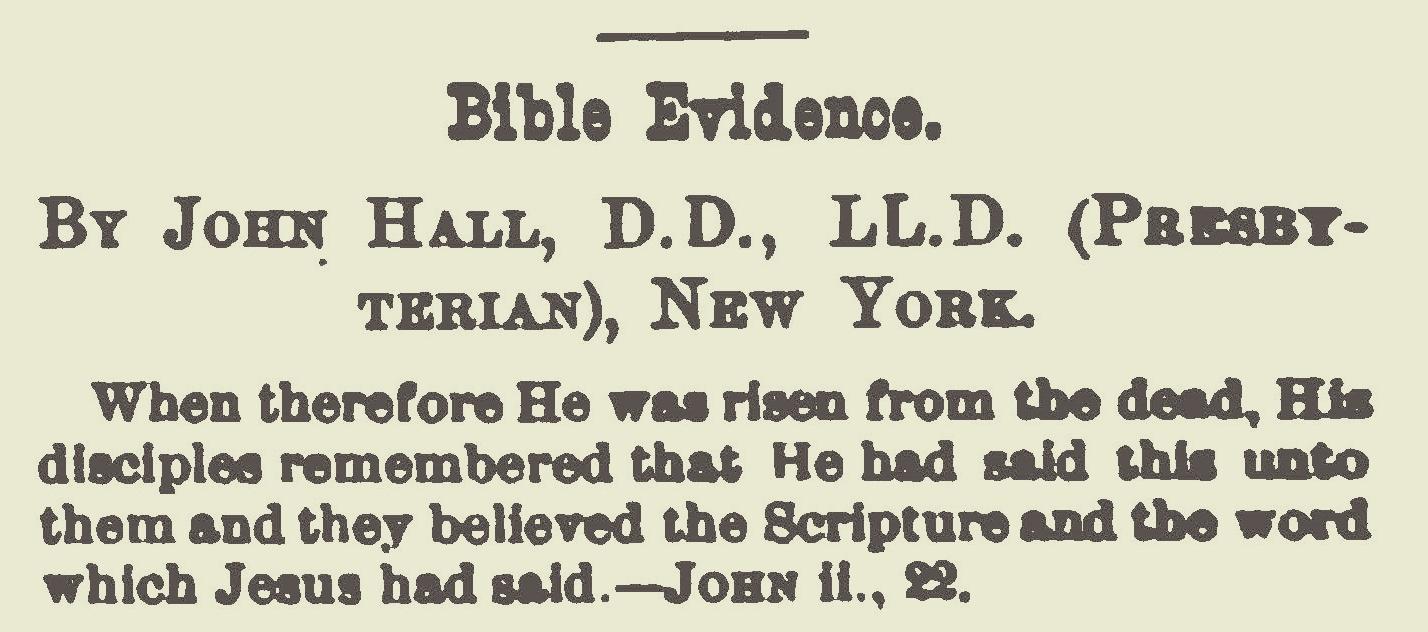 Hall, John, Bible Evidence Title Page.jpg