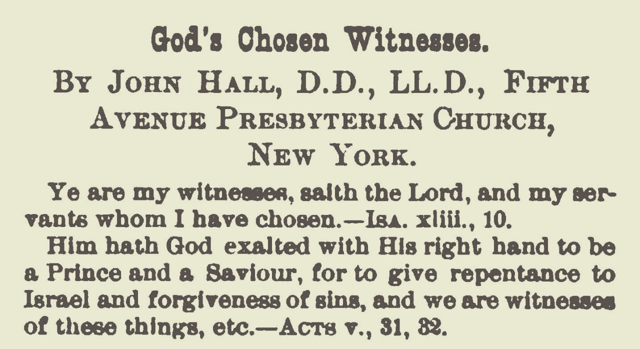 Hall, John, God's Chosen Witnesses Title Page.jpg