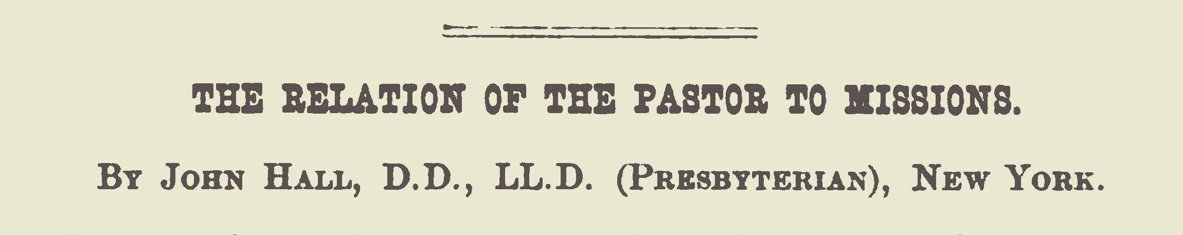 Hall, John, The Relation of the Pastor to Missions Title Page.jpg